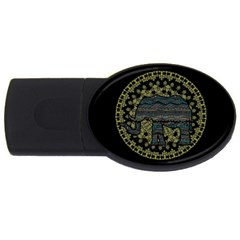 Ornate Mandala Elephant  Usb Flash Drive Oval (2 Gb) by Valentinaart