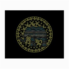 Ornate Mandala Elephant  Small Glasses Cloth (2 Side) by Valentinaart