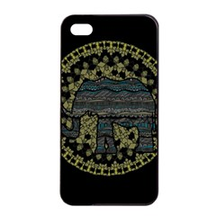 Ornate Mandala Elephant  Apple Iphone 4/4s Seamless Case (black) by Valentinaart