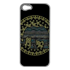 Ornate Mandala Elephant  Apple Iphone 5 Case (silver) by Valentinaart