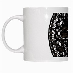 Ornate Mandala Elephant  White Mugs by Valentinaart