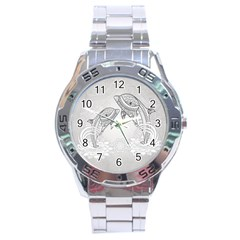 Beautiful Dolphin, Mandala Design Stainless Steel Analogue Watch by FantasyWorld7