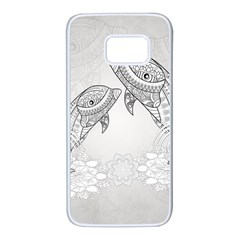 Beautiful Dolphin, Mandala Design Samsung Galaxy S7 White Seamless Case by FantasyWorld7