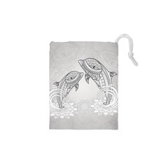 Beautiful Dolphin, Mandala Design Drawstring Pouches (xs)  by FantasyWorld7