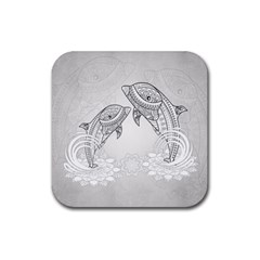 Beautiful Dolphin, Mandala Design Rubber Square Coaster (4 Pack)  by FantasyWorld7