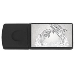 Beautiful Dolphin, Mandala Design Usb Flash Drive Rectangular (4 Gb) by FantasyWorld7
