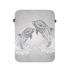 Beautiful Dolphin, Mandala Design Apple Ipad 2/3/4 Protective Soft Cases by FantasyWorld7
