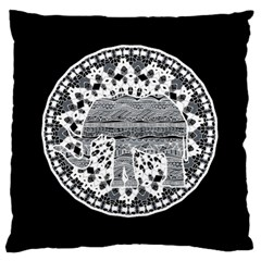 Ornate Mandala Elephant  Large Cushion Case (two Sides) by Valentinaart