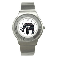 Ornate Mandala Elephant  Stainless Steel Watch by Valentinaart