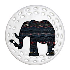 Ornate Mandala Elephant  Ornament (round Filigree) by Valentinaart