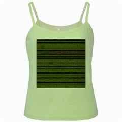 Stripy Knitted Wool Fabric Texture Green Spaghetti Tank by BangZart