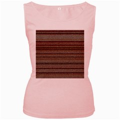 Stripy Knitted Wool Fabric Texture Women s Pink Tank Top