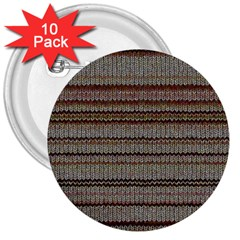 Stripy Knitted Wool Fabric Texture 3  Buttons (10 Pack)