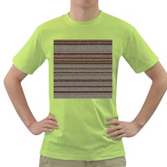 Stripy Knitted Wool Fabric Texture Green T Shirt