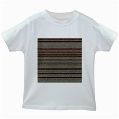 Stripy Knitted Wool Fabric Texture Kids White T Shirts