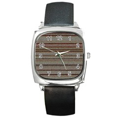 Stripy Knitted Wool Fabric Texture Square Metal Watch