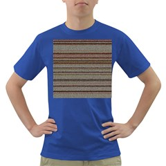 Stripy Knitted Wool Fabric Texture Dark T Shirt by BangZart