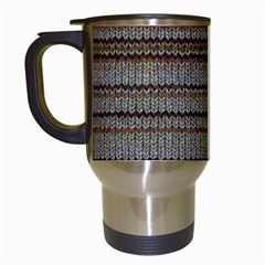 Stripy Knitted Wool Fabric Texture Travel Mugs (white)