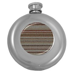 Stripy Knitted Wool Fabric Texture Round Hip Flask (5 Oz) by BangZart
