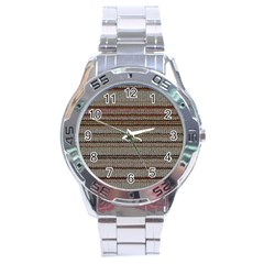 Stripy Knitted Wool Fabric Texture Stainless Steel Analogue Watch