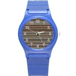 Stripy Knitted Wool Fabric Texture Round Plastic Sport Watch (S) Front