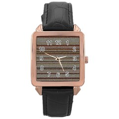 Stripy Knitted Wool Fabric Texture Rose Gold Leather Watch