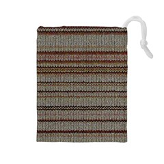 Stripy Knitted Wool Fabric Texture Drawstring Pouches (large)