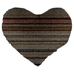 Stripy Knitted Wool Fabric Texture Large 19  Premium Flano Heart Shape Cushions by BangZart