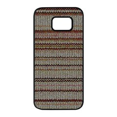 Stripy Knitted Wool Fabric Texture Samsung Galaxy S7 Edge Black Seamless Case by BangZart