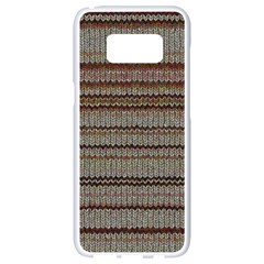 Stripy Knitted Wool Fabric Texture Samsung Galaxy S8 White Seamless Case by BangZart