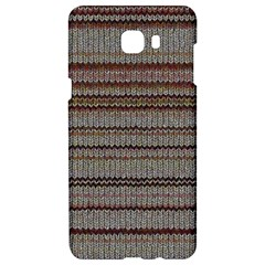 Stripy Knitted Wool Fabric Texture Samsung C9 Pro Hardshell Case