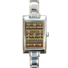 Aztec Pattern Rectangle Italian Charm Watch by BangZart