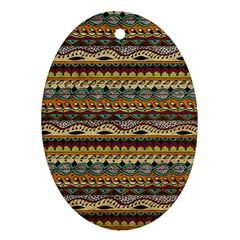 Aztec Pattern Oval Ornament (two Sides) by BangZart