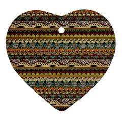 Aztec Pattern Heart Ornament (two Sides) by BangZart