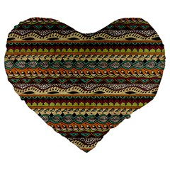 Aztec Pattern Large 19  Premium Heart Shape Cushions by BangZart