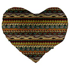 Aztec Pattern Large 19  Premium Flano Heart Shape Cushions