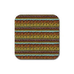 Bohemian Fabric Pattern Rubber Coaster (square)  by BangZart