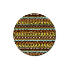 Bohemian Fabric Pattern Rubber Coaster (round)