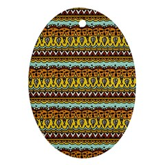 Bohemian Fabric Pattern Oval Ornament (two Sides) by BangZart