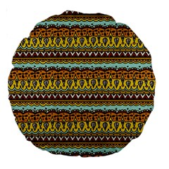 Bohemian Fabric Pattern Large 18  Premium Round Cushions by BangZart