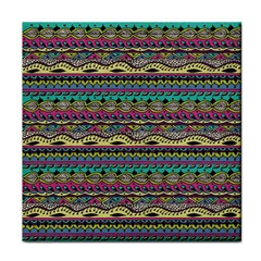 Aztec Pattern Cool Colors Tile Coasters by BangZart