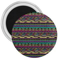 Aztec Pattern Cool Colors 3  Magnets by BangZart