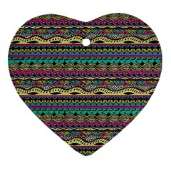 Aztec Pattern Cool Colors Ornament (heart) by BangZart