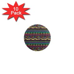Aztec Pattern Cool Colors 1  Mini Magnet (10 Pack)  by BangZart