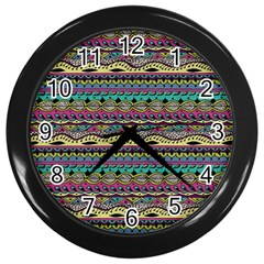 Aztec Pattern Cool Colors Wall Clocks (black) by BangZart