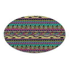 Aztec Pattern Cool Colors Oval Magnet by BangZart