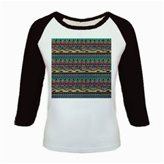 Aztec Pattern Cool Colors Kids Baseball Jerseys by BangZart