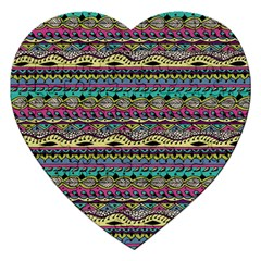 Aztec Pattern Cool Colors Jigsaw Puzzle (heart) by BangZart