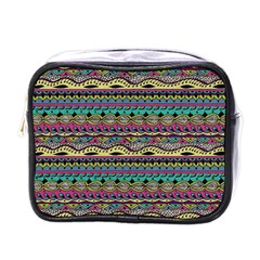 Aztec Pattern Cool Colors Mini Toiletries Bags by BangZart