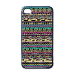 Aztec Pattern Cool Colors Apple Iphone 4 Case (black) by BangZart